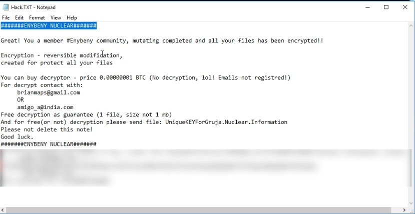 EnyBeny Nuclear Ransomware